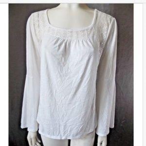 sz M No Bounderies White Bell Sleeve Shirt s31-pb1